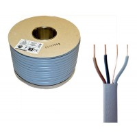 Grey 1mm 12A Brown Black Grey Three Core & Earth 6243Y Flat PVC/PVC Harmonised Lighting Power Cable
