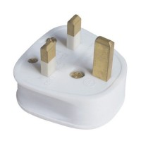 13A White Plastic Electrical Safety UK 3 Pin Plug Top