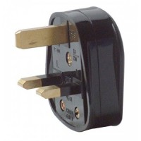 13A Black Plastic Electrical Safety UK 3 Pin Plug Top