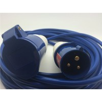 16A 230V Blue Arctic Male to Female Electric Mains Hook Up Extension Cable Lead