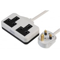 White UK 3 Pin Plug With 2 Gang 2G Socket Extension Cord Cable Lead