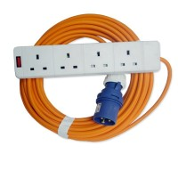 16A 230V Orange Male to 4 Gang Hook Up Extension Cable Lead