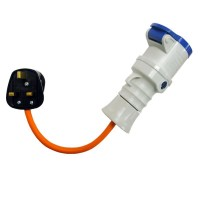 16A 230V Orange UK 3 Pin Plug to Female Hook Up Extension Cable Lead