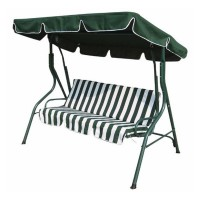 3 Seater Green & White Swinging Outdoor Garden Hammock Bench