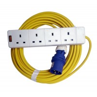 16A 230V Yellow Male to 4 Gang Hook Up Extension Cable Lead