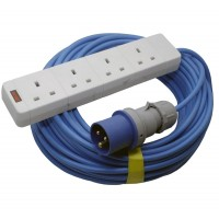 16A Blue Male - 4 Gang Hook Up Cable