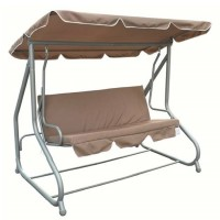 Cream Swinging 3 Person Bench & Hammock Bed
