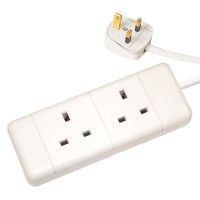 White 13A Plug 2 Gang 2G Socket Extension Cord Cable Lead