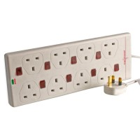 8G White Surge Protected Individually Switched Extension Socket