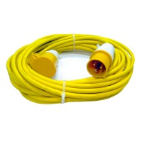 16A 110V Yellow Arctic Male to Female Electric Mains Hook Up Extension Cable Lead