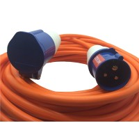 16A Orange Male to Female Electric Hook Up Lead 1.5mm